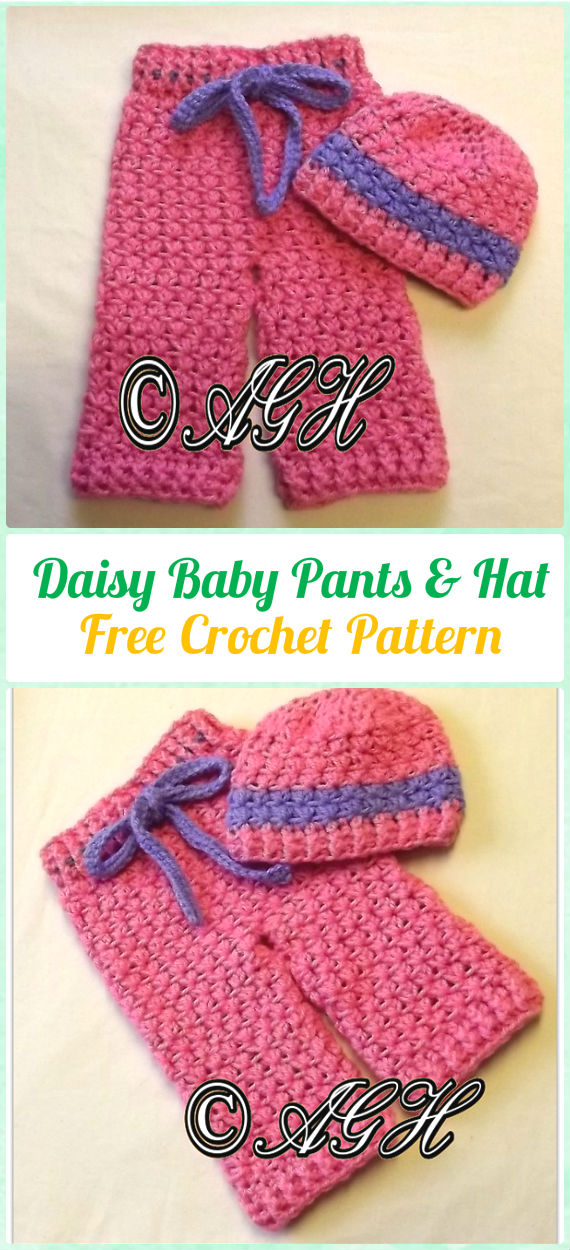 Crochet Daisy Baby Pants and Hat Free Pattern - Crochet Baby Pants Free Patterns