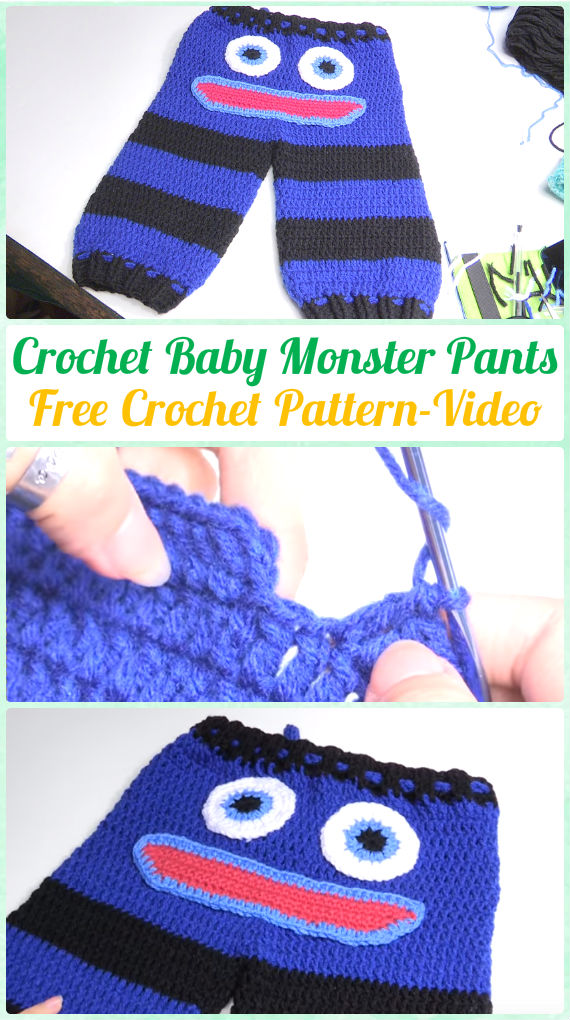Crochet Baby Monster Pants Free Pattern Video - Crochet Baby Pants Free Patterns