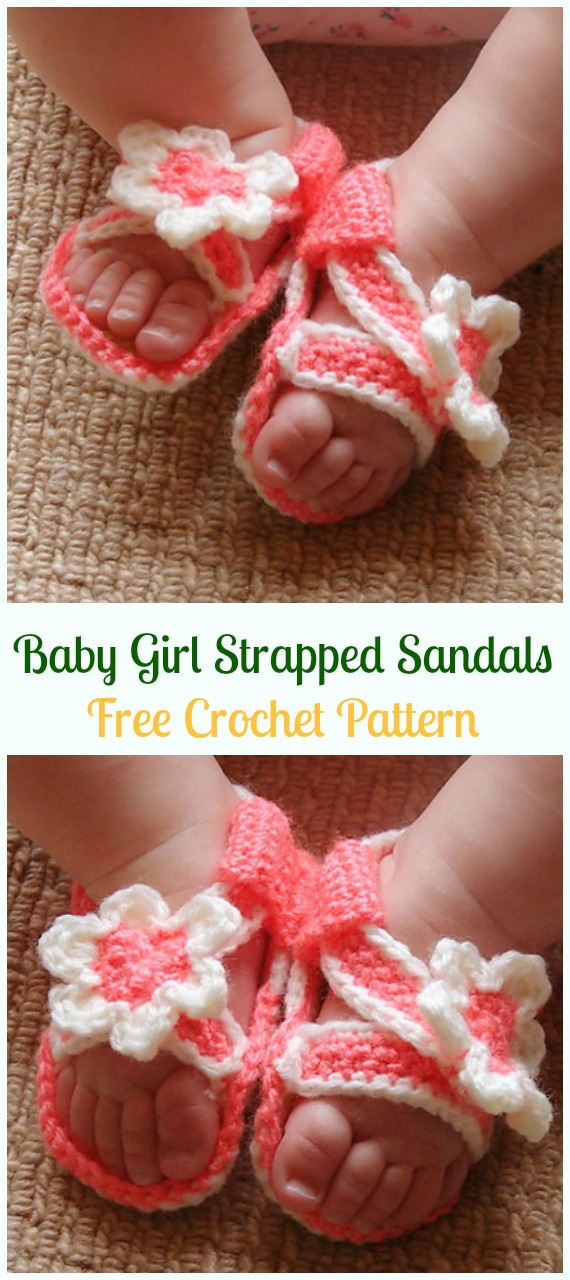 Crochet Baby Girl Strapped Sandals Free Pattern-Crochet Baby Sandals Free Patterns