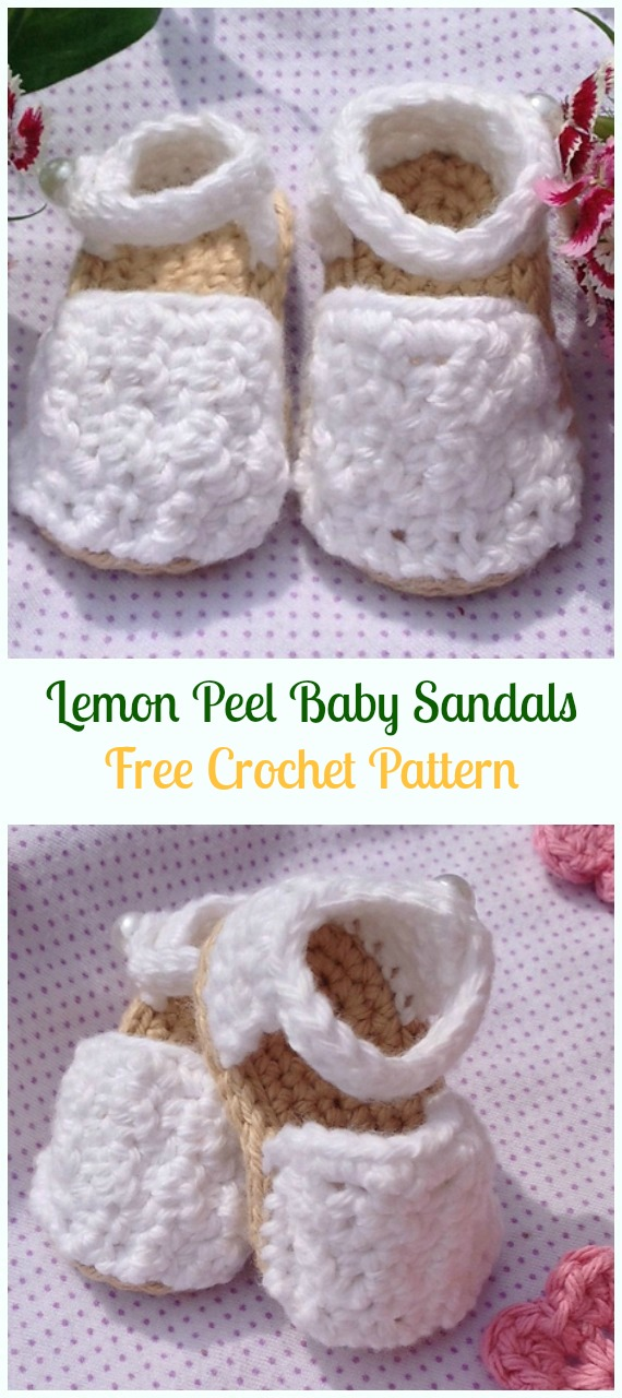 Crochet Lemon Peel Baby Sandals Free Pattern-Crochet Baby Sandals Free Patterns