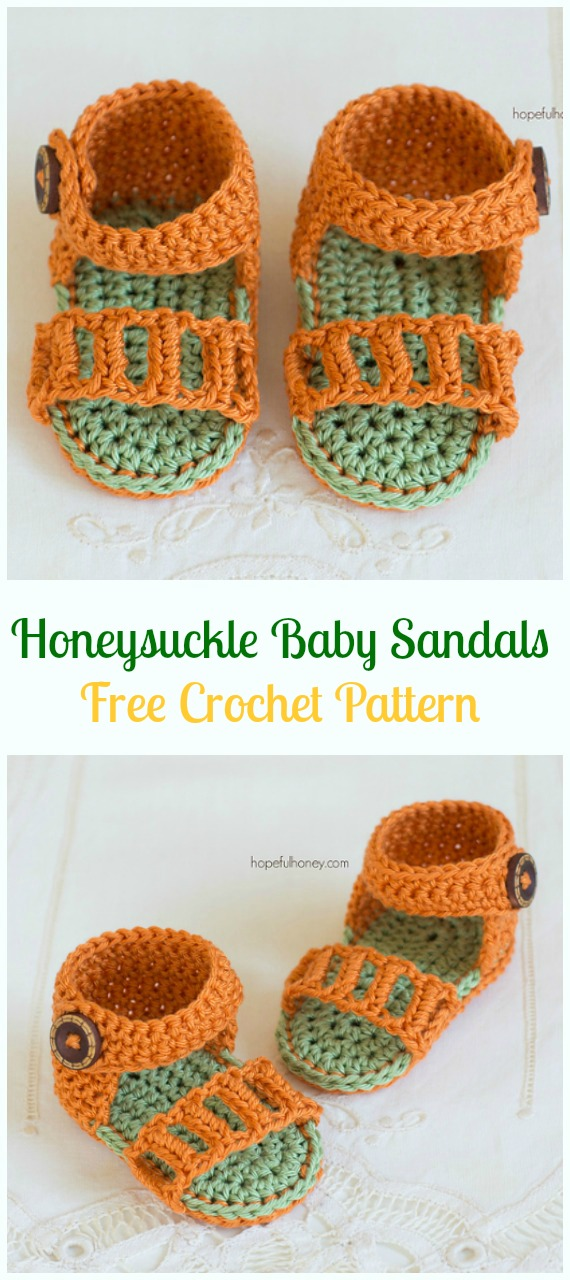 Crochet Honeysuckle Baby Sandals Free Pattern-Crochet Baby Sandals Free Patterns
