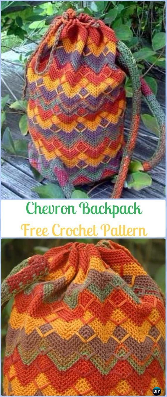Crochet Chevron Backpack Free Pattern -Crochet Backpack Free Patterns Adult Version