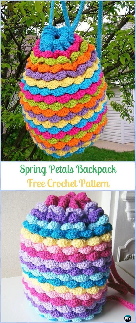 Crochet Spring Petals Backpack Free Pattern -Crochet Backpack Free Patterns Adult Version