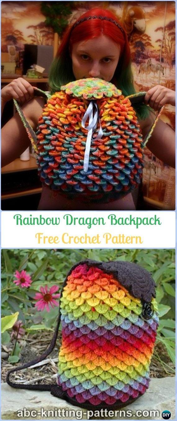 Crochet Crocodile St Rainbow Dragon Backpack Free Pattern -Crochet Backpack Free Patterns Adult Version