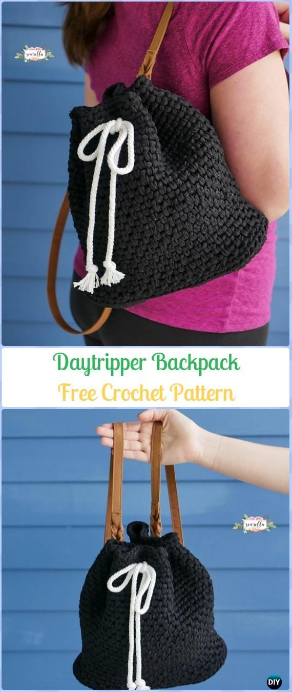Crochet Daytripper Backpack Free Pattern -Crochet Backpack Free Patterns Adult Version