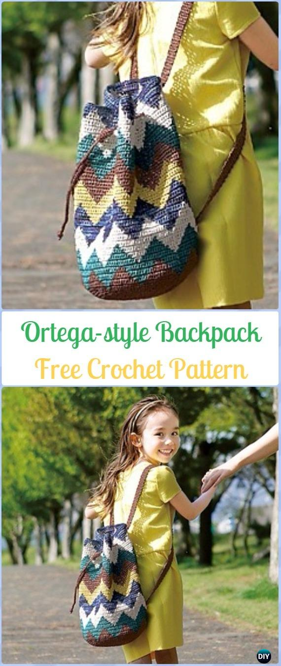 Crochet Ortega-style Backpack Free Pattern -Crochet Backpack Free Patterns Adult Version