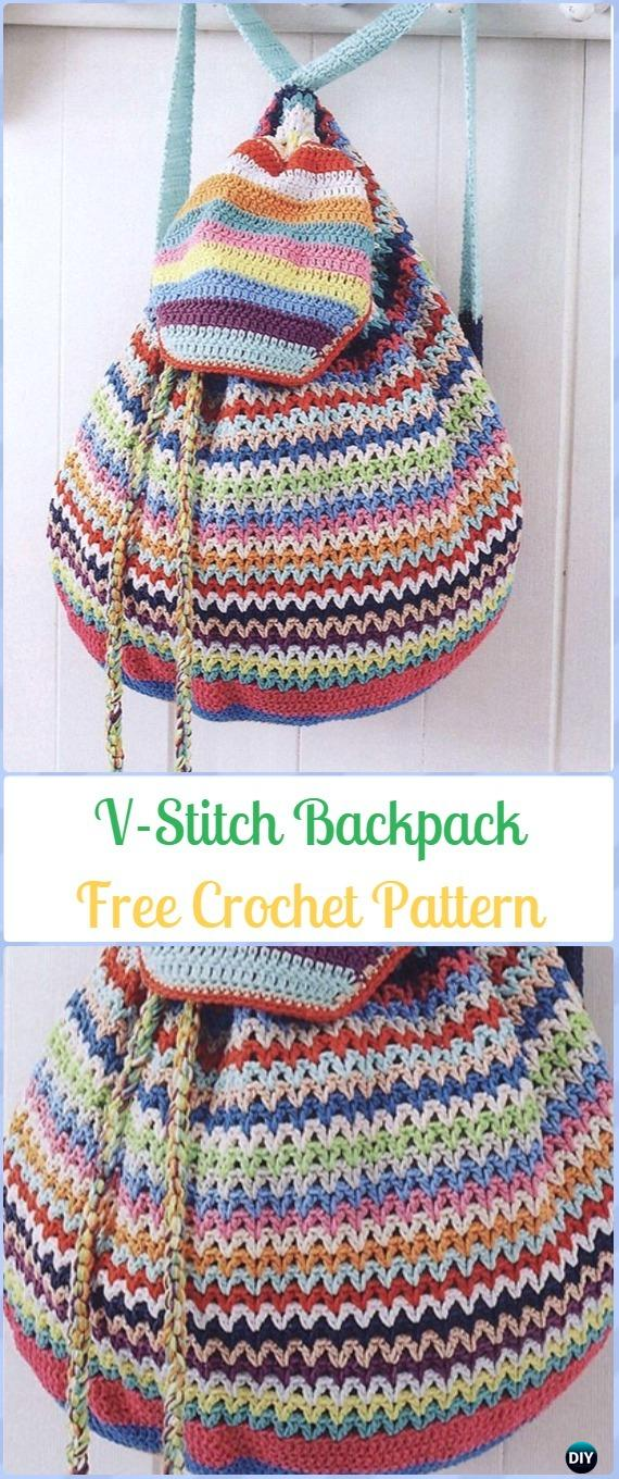 Crochet V Stitch Backpack Free Pattern Crochet Backpack Free