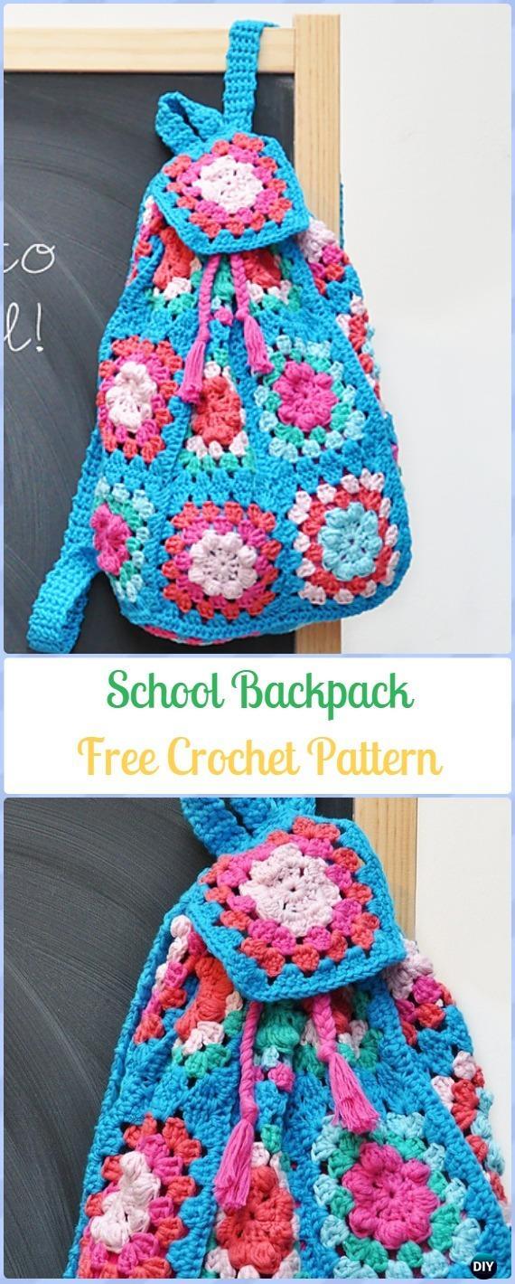 Crochet Granny Square School Backpack Free Pattern -Crochet Backpack Free Patterns Adult Version