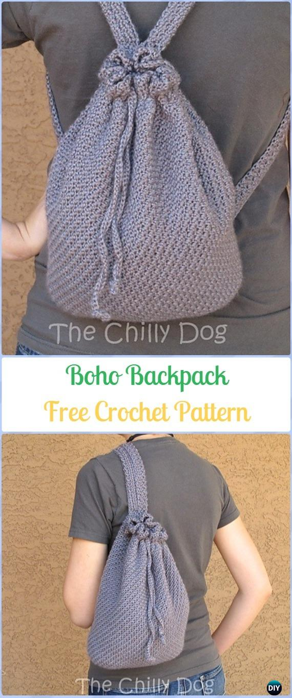 Crochet Boho Backpack Free Pattern -Crochet Backpack Free Patterns Adult Version