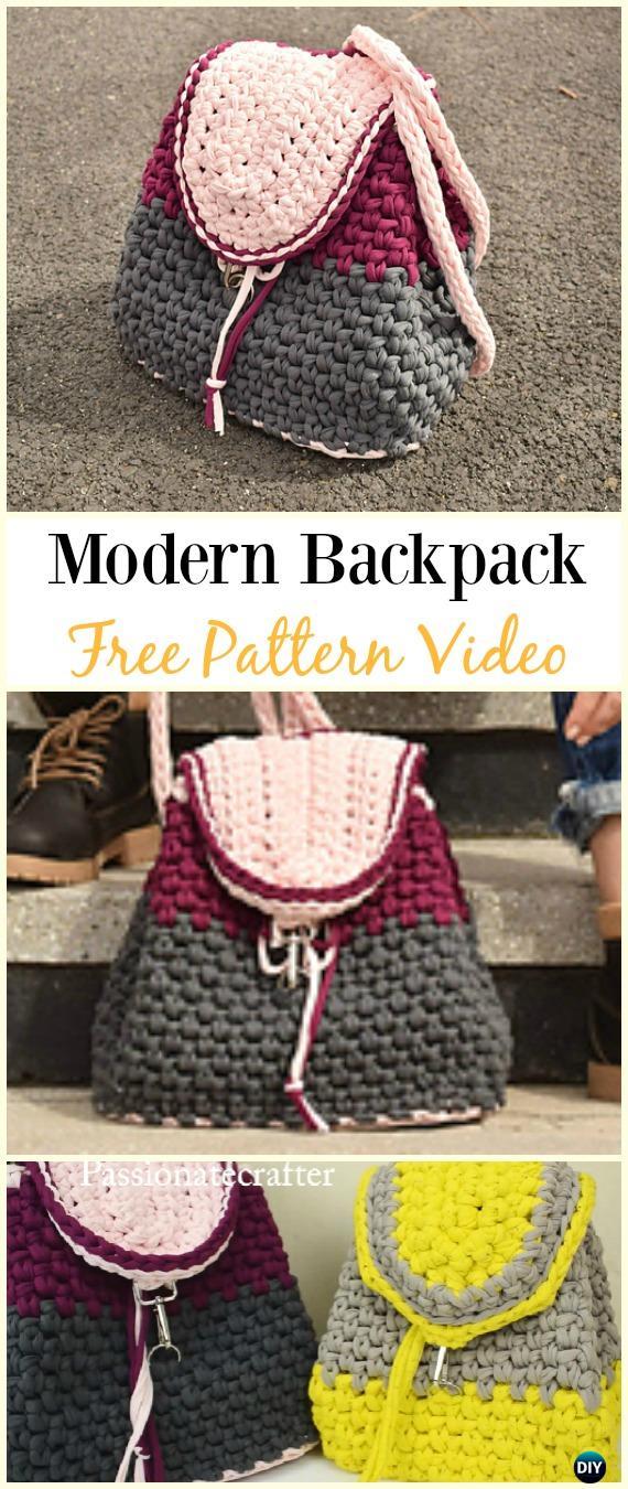 Crochet Modern Backpack Free Pattern Video -Crochet Backpack Free Patterns Adult Version