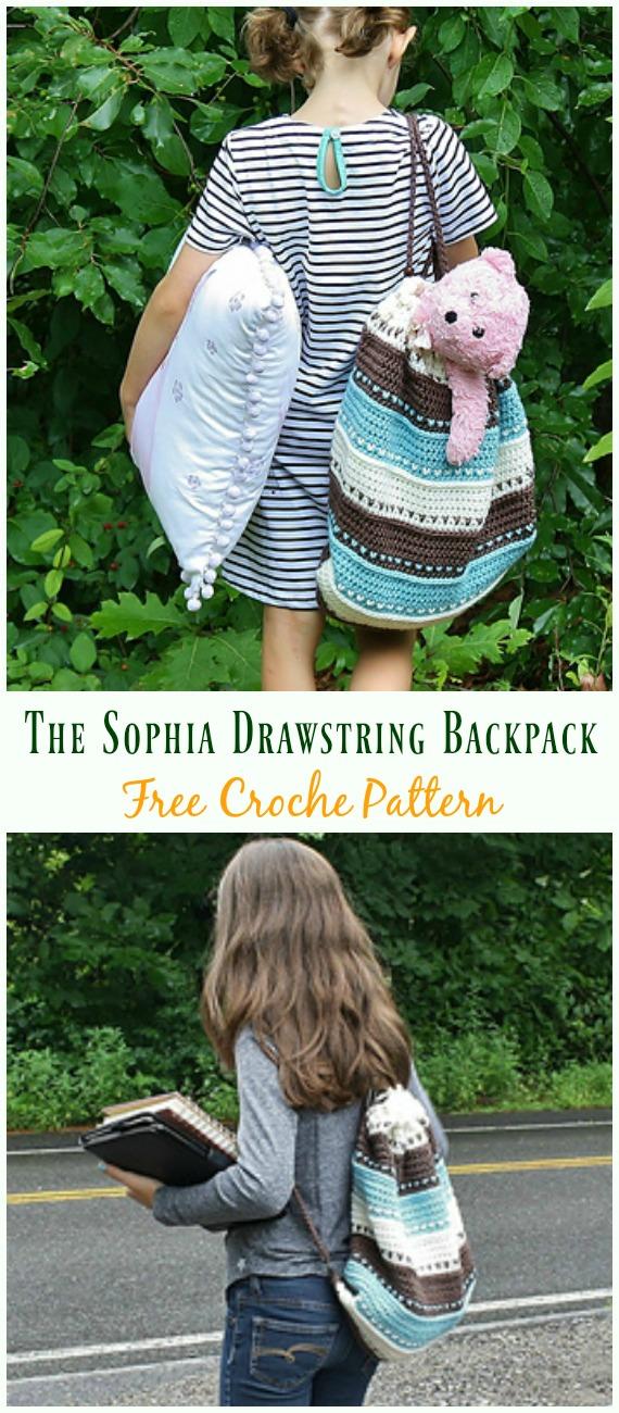 The Sophia Drawstring BackpackCrochet Free Pattern - #Crochet; #Backpack; Free Patterns Adult Version