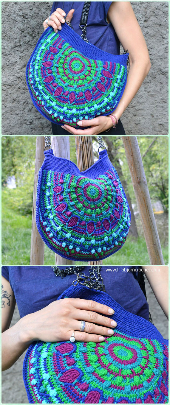 Crochet Peacock Tail Bag Bag Free Pattern - Crochet Handbag Free Patterns Instructions