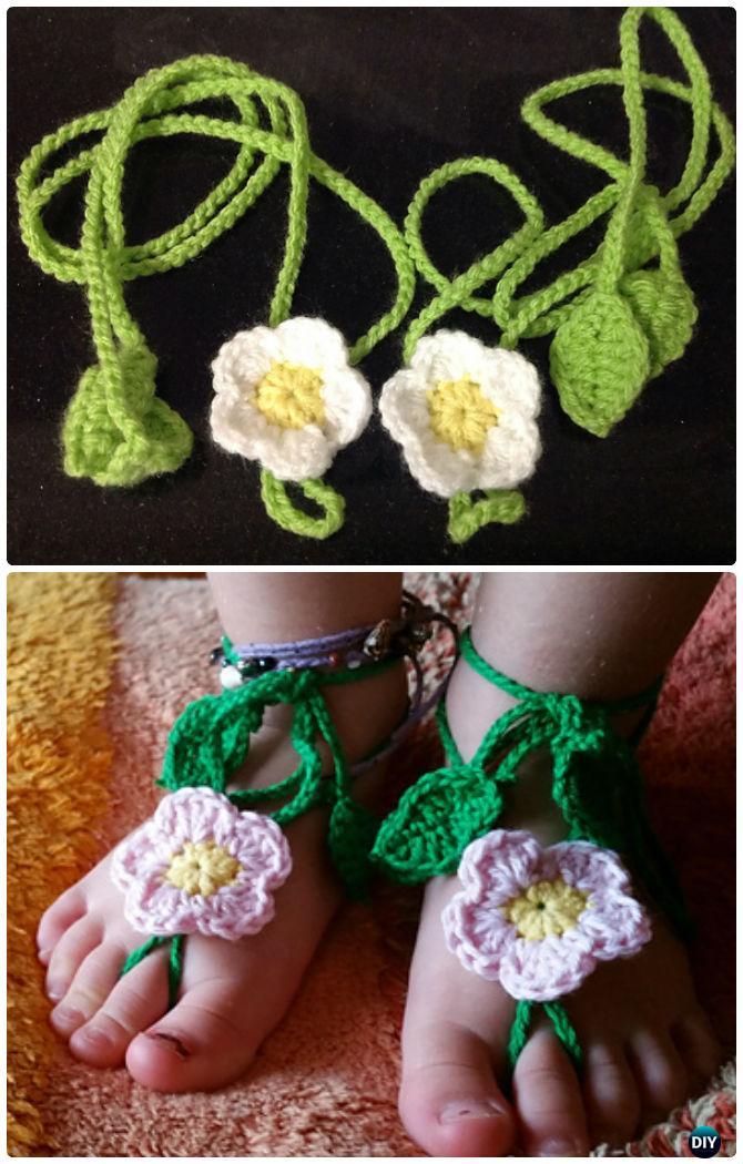 Crochet Daisy Barefoot Sandals Free Pattern - Crochet Barefoot Baby Sandals [Free Patterns]