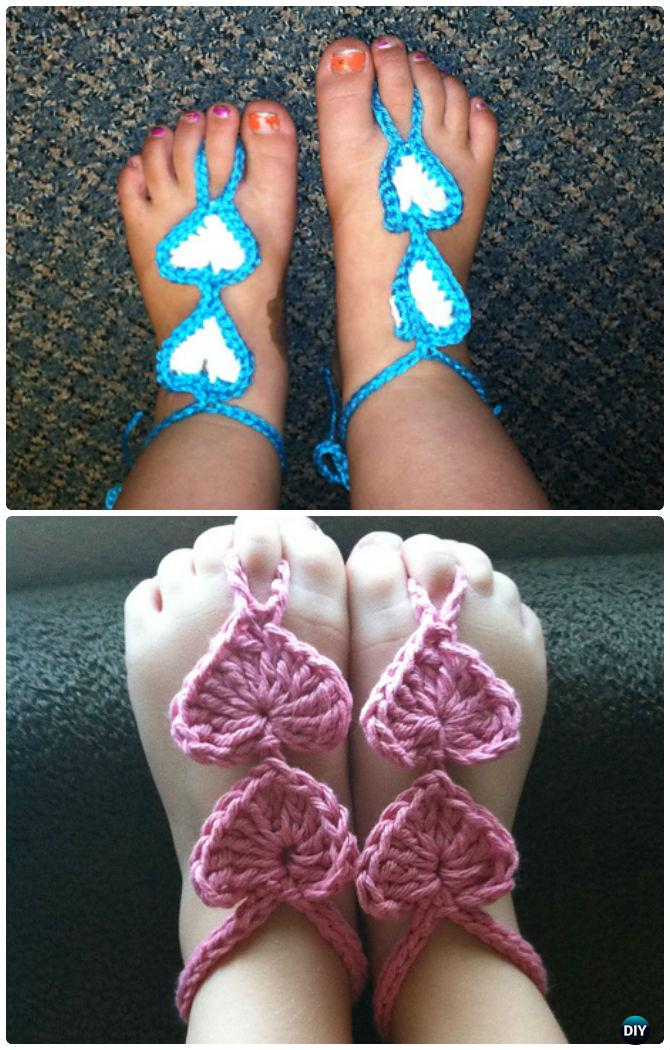 Crochet Barefoot Baby Sandals Free Patterns