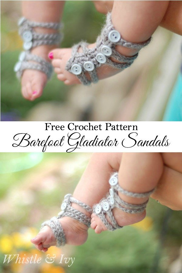 Crochet Baby Barefoot Gladiator Sandals Free Pattern - Crochet Barefoot Baby Sandals [Free Patterns]