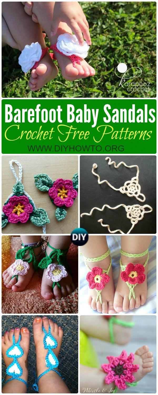 Crochet Barefoot Baby Sandals [Free Patterns]: Crochet Baby Beach Sandals, Summer Sandals, Baby Anklets,