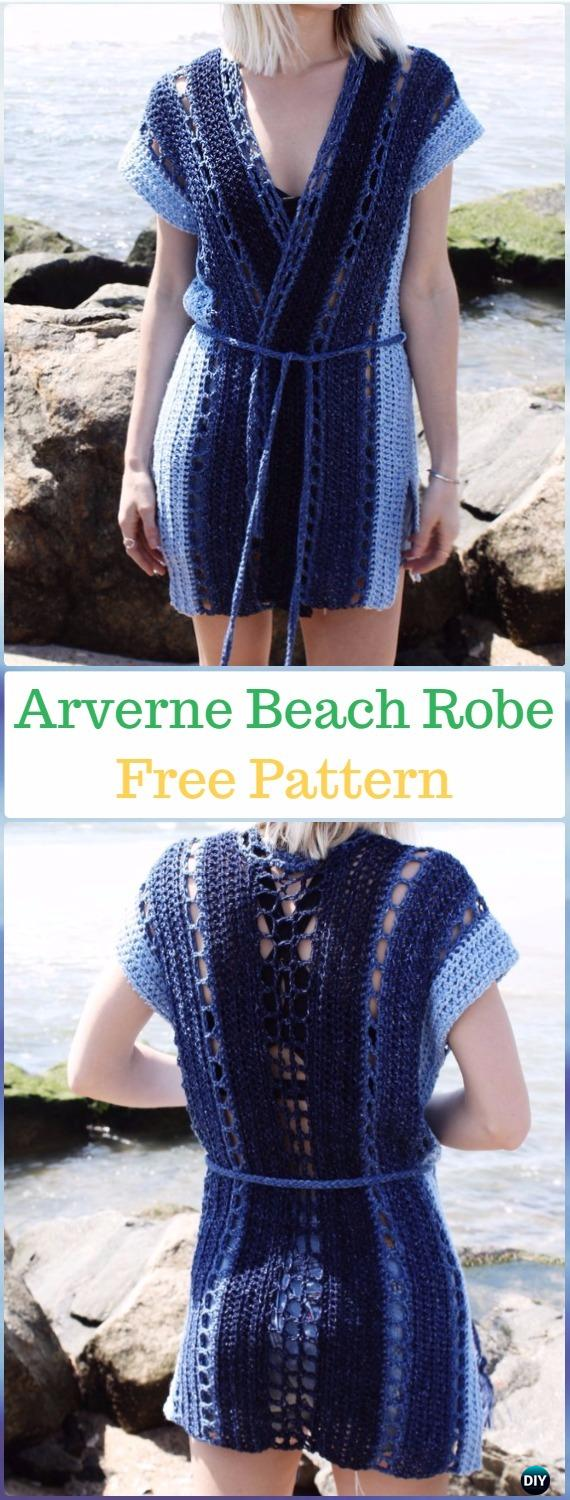 Crochet Arverne Beach Robe Free Pattern - Crochet Beach Cover Up Free Patterns