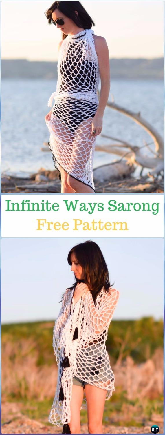 Crochet Infinite Ways Sarong Cover Free Pattern - Crochet Beach Cover Up Free Patterns