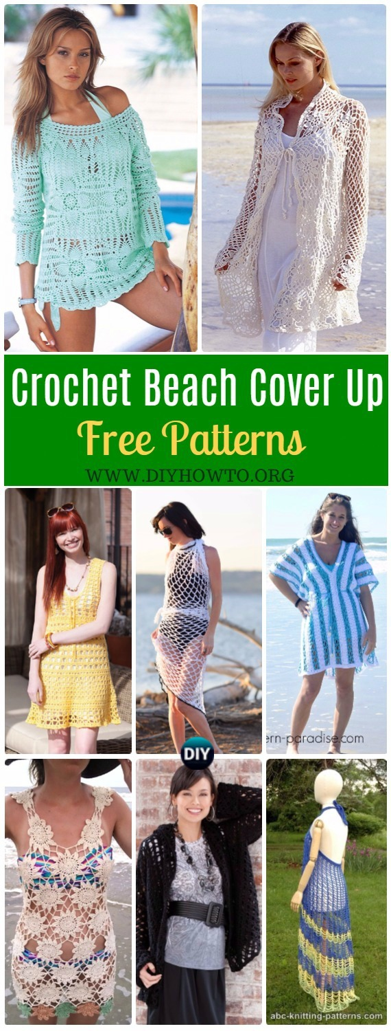 Collection of Crochet Beach Cover Up Free Patterns for ladies: Women Summer Top, Flower Cover Up, Beach Robe, Wrap, Cardigan