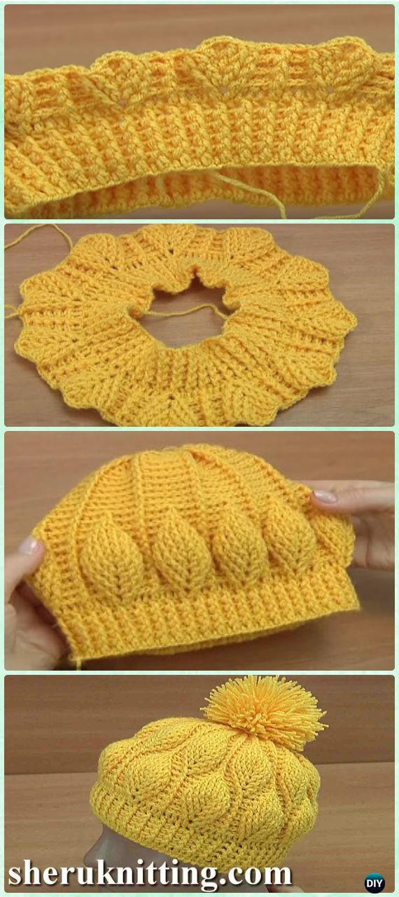 Crochet 3d Embossed Leaf Beanie Free Pattern Video Crochet