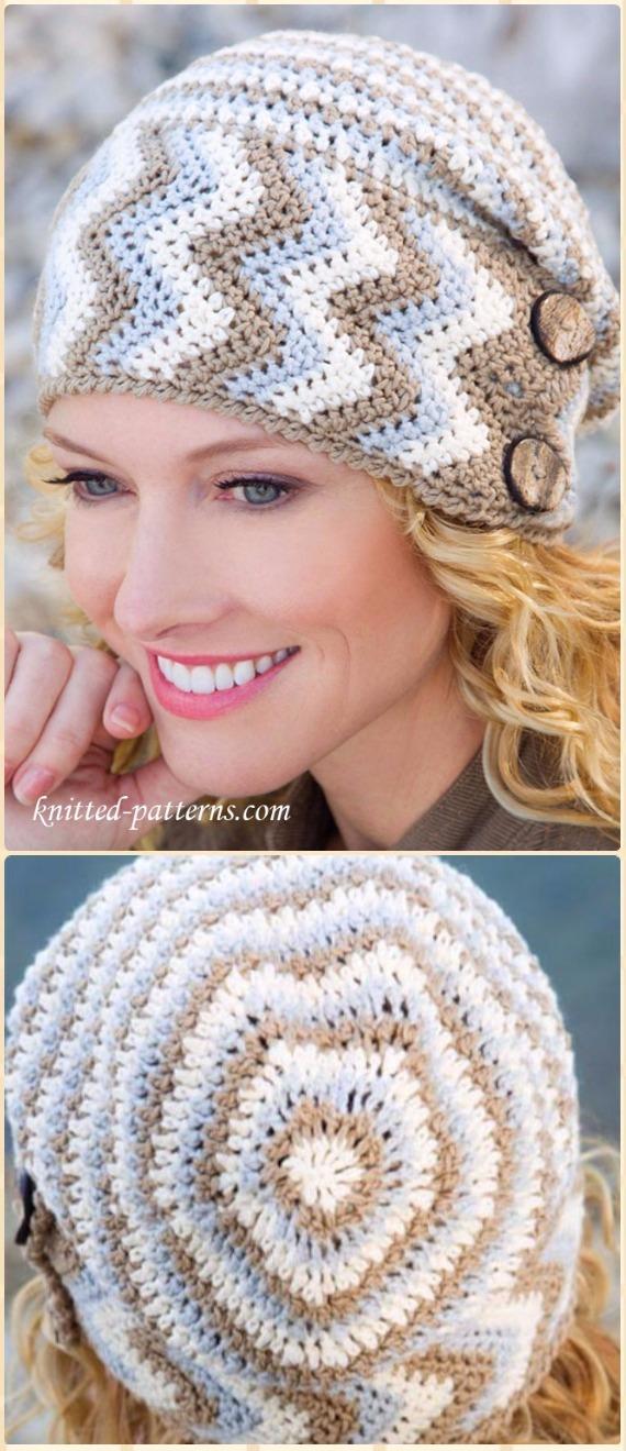 Crochet Buttoned Chevron Beanie Hat Free Pattern Crochet Beanie
