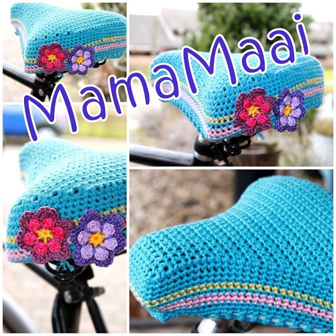 Crochet Stripy Bike Seat Cover Free Pattern - Crochet Bicycle Fashion Patterns