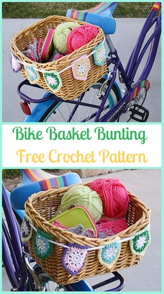 Crochet Bike Basket Bunting Free Pattern - Crochet Bicycle Fashion Patterns