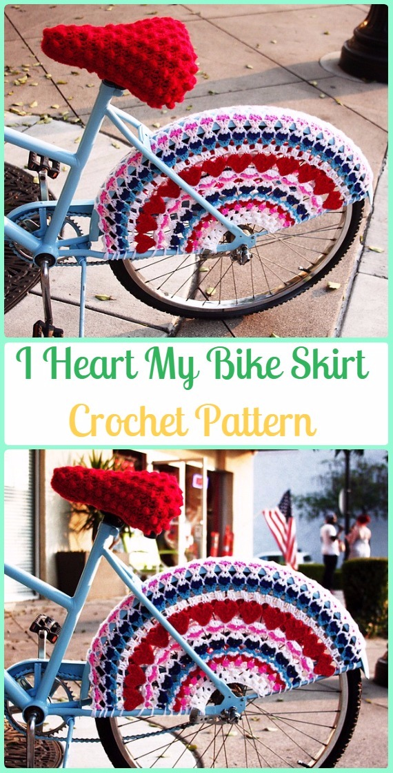 Crochet I Heart My Bike Skirt Guards Paid Pattern - Crochet Bicycle Fashion Patterns
