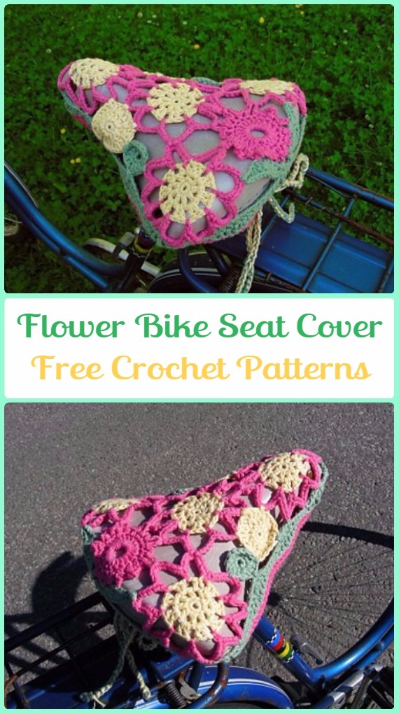 Crochet Lace Flower Bike Seat Cover Free Patterns - Crochet Bicycle Fashion Patterns