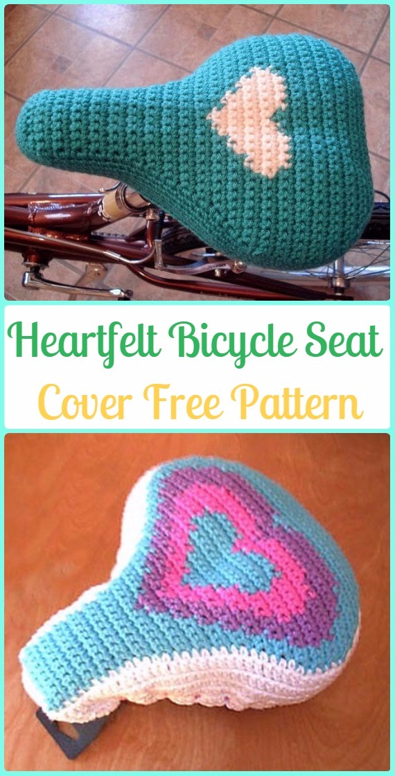 Crochet Heartfelt Bicycle Seat Cover Free Patterns - Crochet Bicycle Fashion Patterns