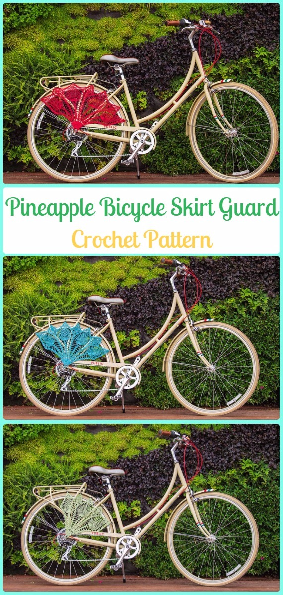 Crochet Pineapple Bicycle Skirt Guards Paid Pattern - Crochet Bicycle Fashion Patterns