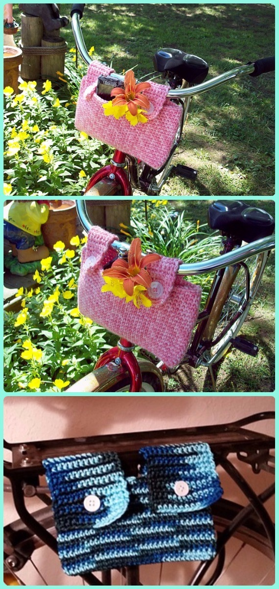 Crochet Bike Rack Bag Basket Patterns - Crochet Bicycle Fashion Patterns