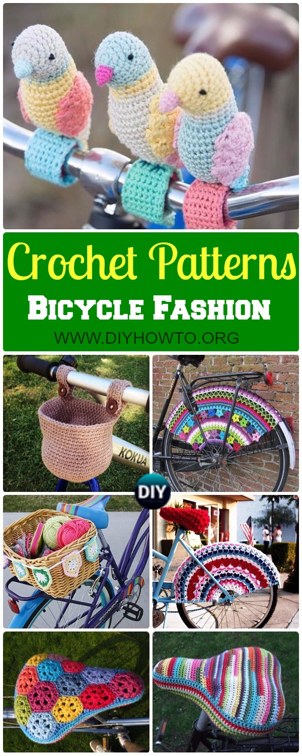 Collection of crochet bicycle fashion accessories patterns and inspiration, bike basket, saddle cover, bike seat cover cozy, Bicycle Skirt Guards patterns [some free]
