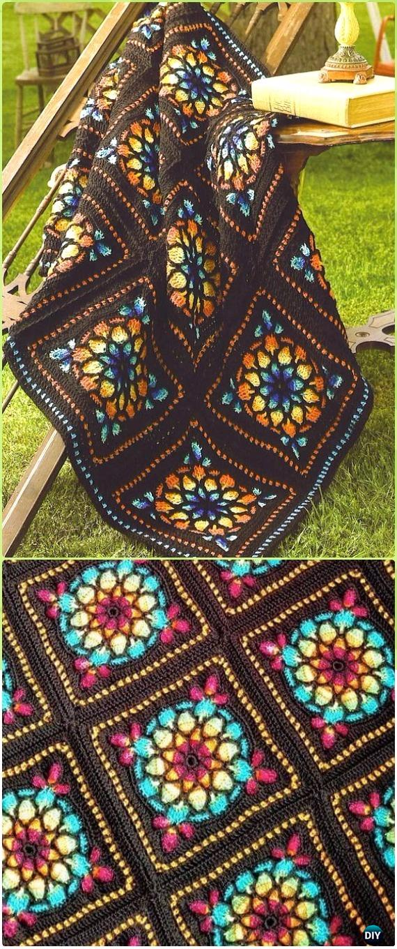 Crochet Stained Glass Window Square Blanket Free Pattern - Crochet Block Blanket Free Patterns