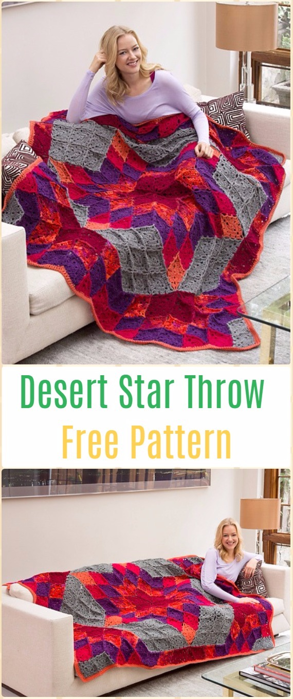 Crochet Desert Star Throw Blanket Free Pattern - Crochet Block Blanket Free Patterns