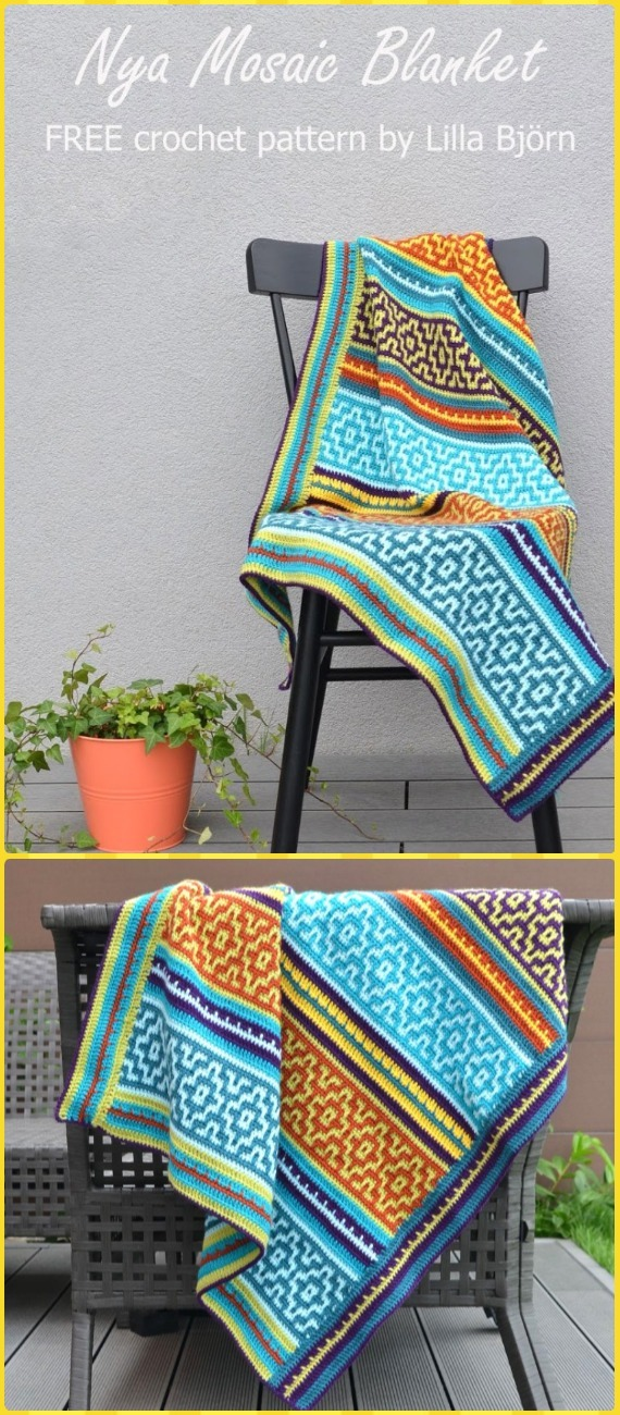 Crochet Nya Mosaic Blanket Free Pattern - Crochet Block Blanket Free Patterns