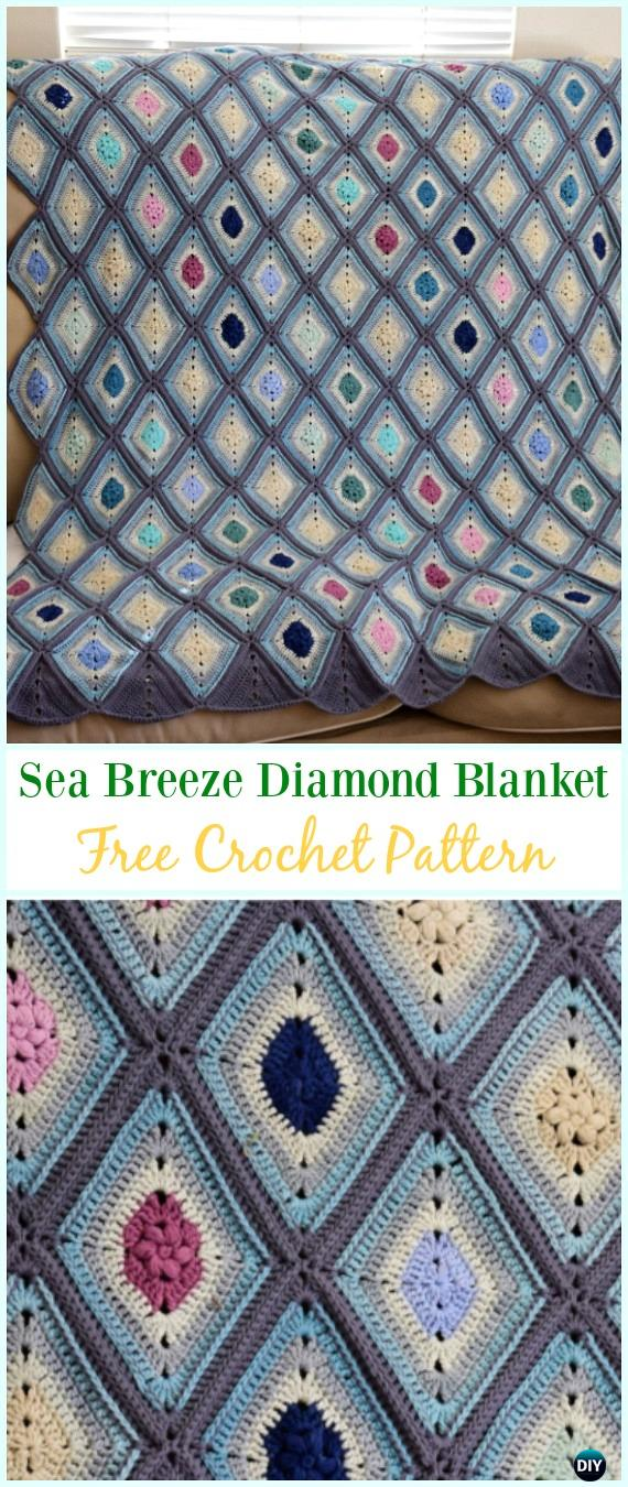 Crochet Sea Breeze Diamond Blanket Free Pattern - #Crochet; Block #Blanket; Free Patterns