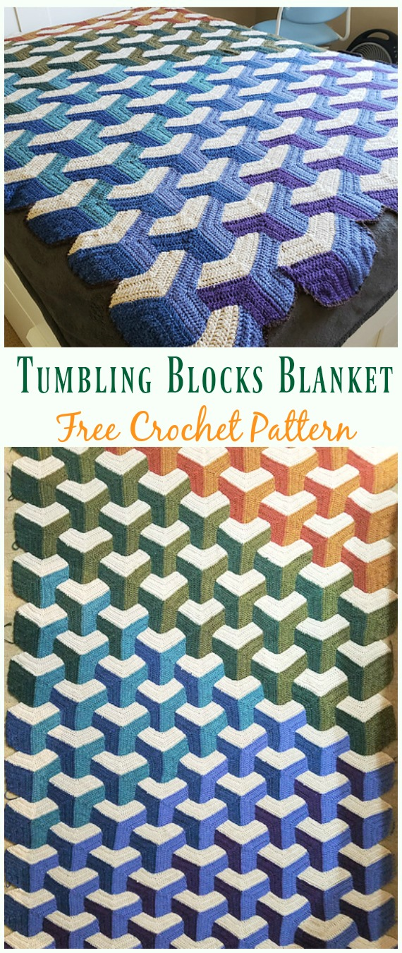 Tumbling Blocks Blanket Crochet Free Pattern - #Crochet; Block #Blanket; Free Patterns