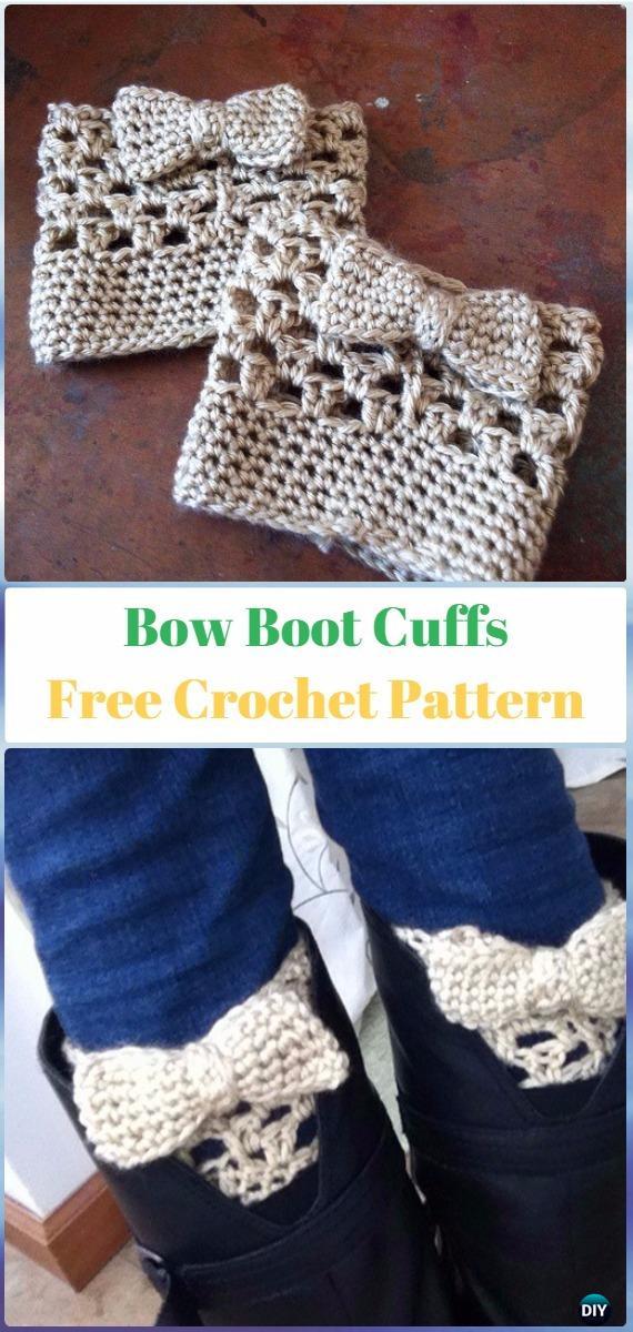 Crochet Bow Boot Cuffs Free Pattern - Crochet Boot Cuffs Free Patterns