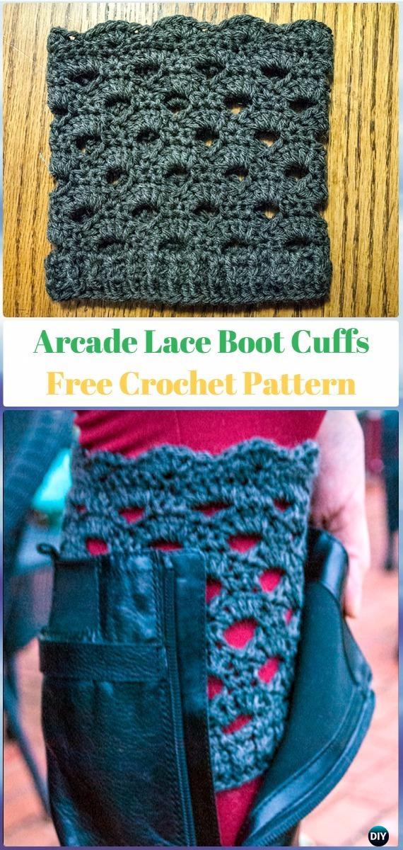 Crochet Arcade Lace Boot Cuffs Free Pattern - Crochet Boot Cuffs Free Patterns