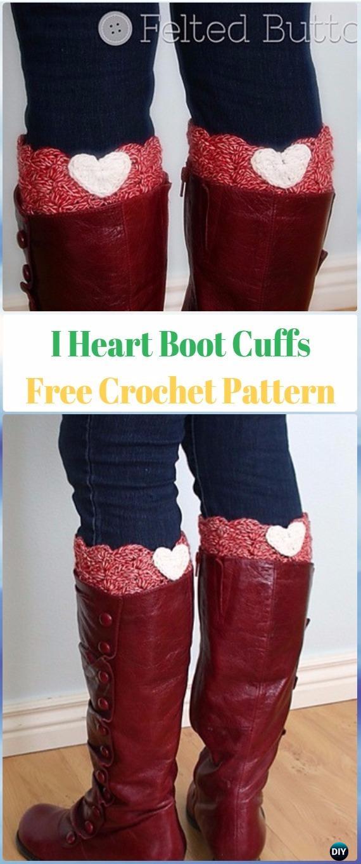 Crochet I Heart Boot Cuffs Free Pattern - Crochet Boot Cuffs Free Patterns