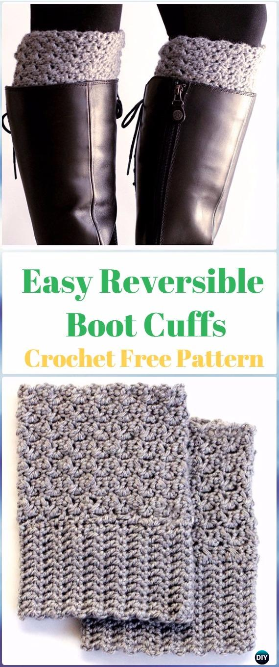 Crochet Easy Reversible Boot Cuffs Free Pattern Crochet Boot Cuffs