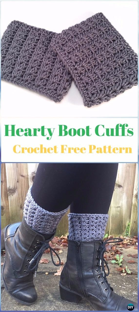 Crochet Hearty Boot Cuffs Free Pattern - Crochet Boot Cuffs Free Patterns