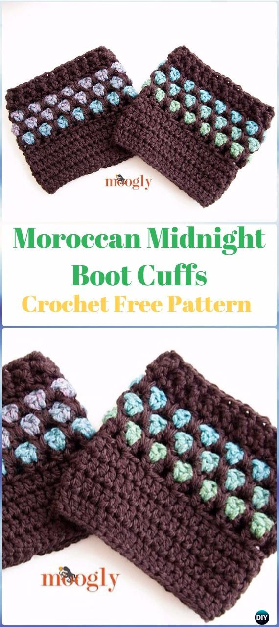 Crochet Moroccan Midnight Boot Cuffs Free Pattern - Crochet Boot Cuffs Free Patterns