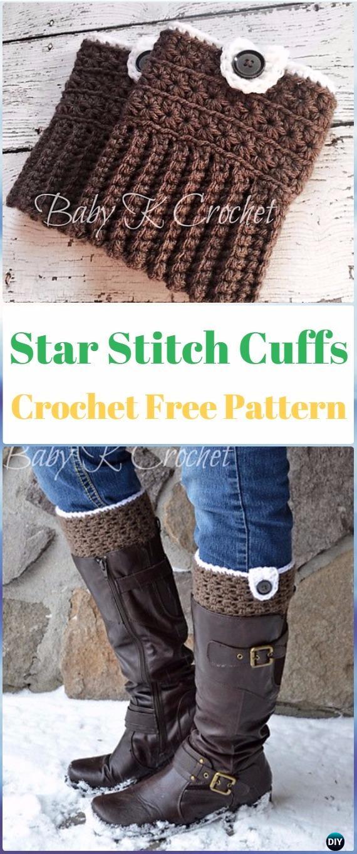 Crochet Star Stitch Boot Cuffs Free Pattern - Crochet Boot Cuffs Free Patterns
