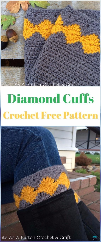 Crochet Diamond Boot Cuffs Free Pattern - Crochet Boot Cuffs Free Patterns