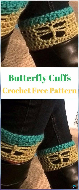Crochet Butterfly Boot Cuffs Free Pattern - Crochet Boot Cuffs Free Patterns