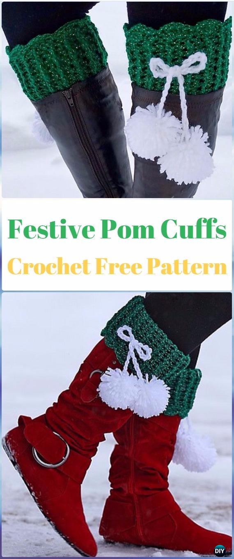 Crochet Festive Pom Boot Cuffs Free Pattern - Crochet Boot Cuffs Free Patterns