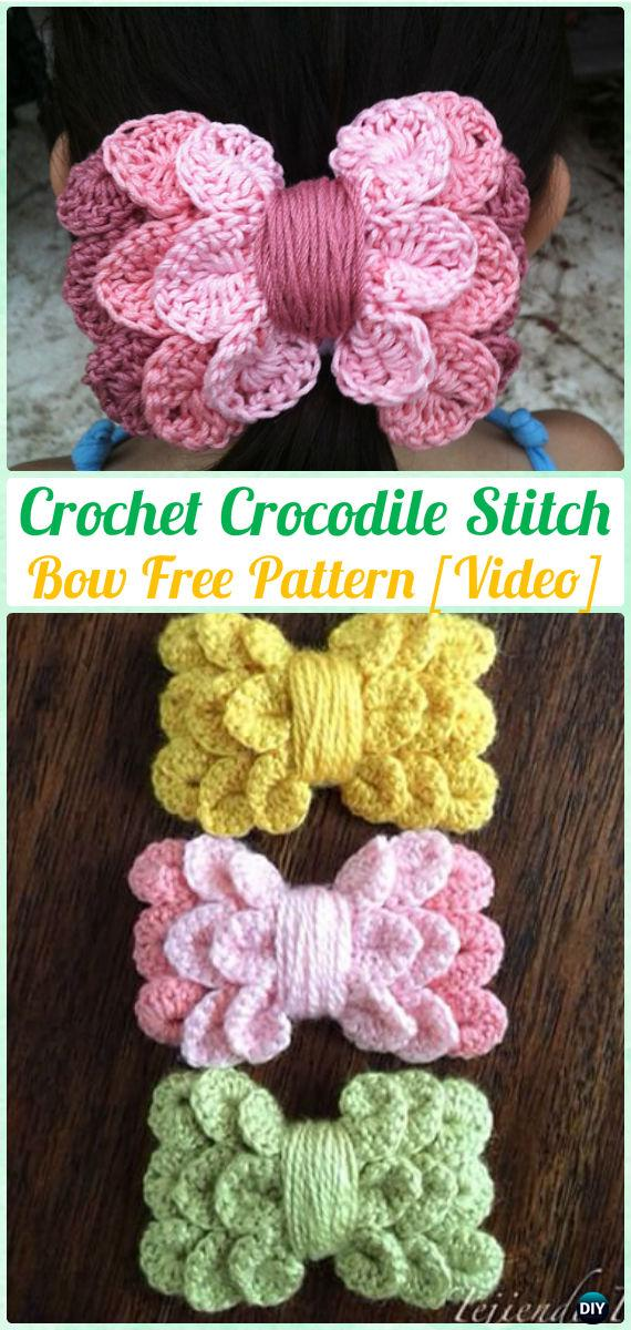 Crochet Crocodile Stitch Bow Free Pattern Video Crochet Bow Free