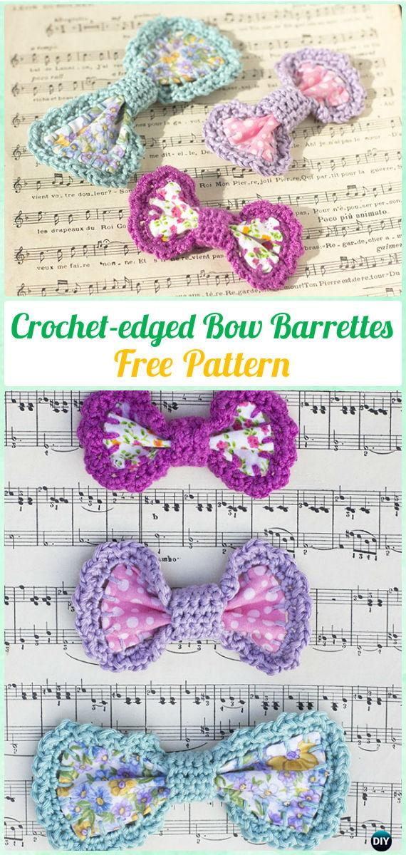 Crochet Fabric Edged Bow Barrettes Free Pattern - Crochet Bow Free Patterns